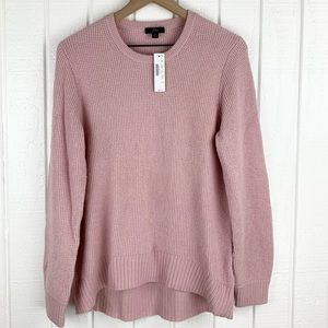 NEW! J CREW Pink Wool Tight Waffle Knit Pullover Sweater SIZE M